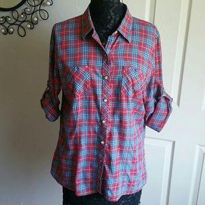L.L. Bean Red and Blue Plaid Button Down Shirt L